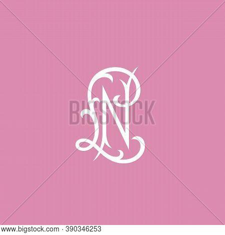 Elegant Vintage Monogram Letters L And N Design Template. Vector Illustration.