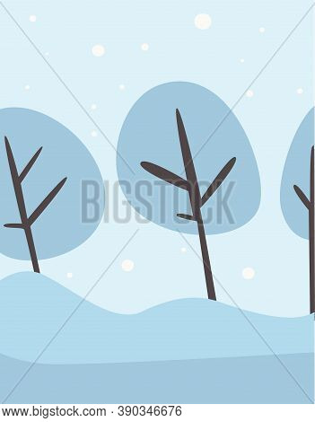 Winter Frosty Landscape, Forest Trees Covered With Snow