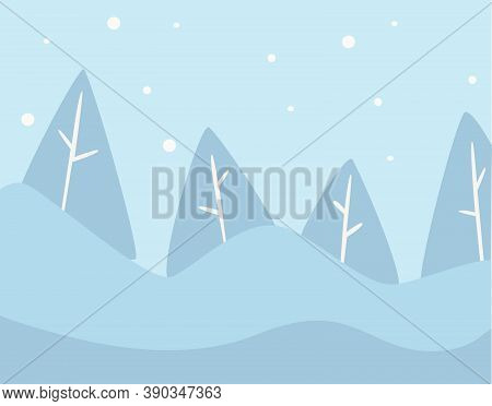 Pine Tree Winter Landscape With Snowy Hills Vector