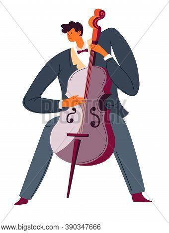 Violoncello Player, Classic Music Performer, Cello Instrument Vector