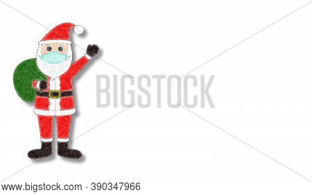 Beautiful Christmas Background With Santa Claus In A Medical Mask And Snowflakes