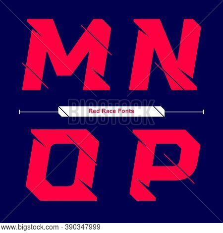 Vector Graphic Alphabet In A Set M,n,o,p, With Abstract Red Race Speed Modern Font. Typography Desig