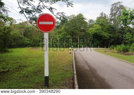 No Entry Traffic Signs For Vehicles. Symbol For No Entrance. This Route Cannot Pass. Do Not Enter Th