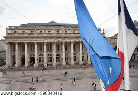 Bordeaux , Aquitaine / France - 11 19 2019 : Grand Theatre Opera Theatre In Bordeaux France With Eu