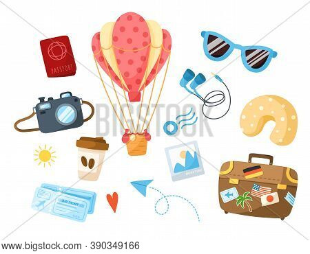 Travel Cartoon Bundle - Hot Air Balloon, Suitcase, Coffee Cup, Sunglasses, Camera, Post Stamp, Paper