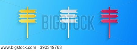 Paper Cut Road Traffic Sign. Signpost Icon Isolated On Blue Background. Pointer Symbol. Street Infor