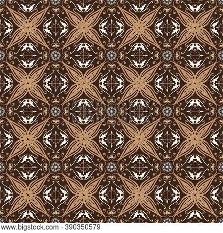 Elegant Flower Motifs On Bantul Batik With Smooth Blend Mocca And Brown Color Design.