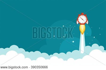 Red Stopwatch Rocket Ship With Fire And Sky With Clouds. Fast Time Stop Watch, Limited Offer, Deadli
