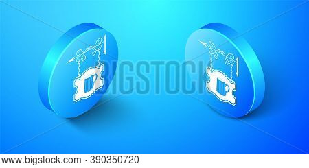 Isometric Street Signboard On Forged Brackets With Wooden Mug Of Beer Icon Isolated On Blue Backgrou