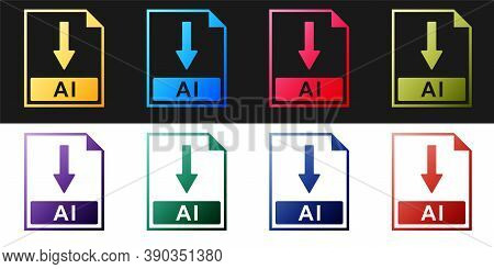 Set Ai File Document Icon. Download Ai Button Icon Isolated On Black And White Background. Vector