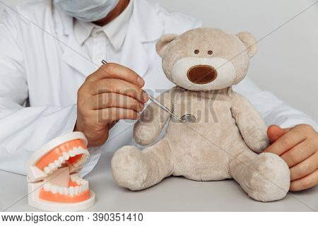 Dentist Chekup Teeth Of Teddy Bear. Children Dentist Concept