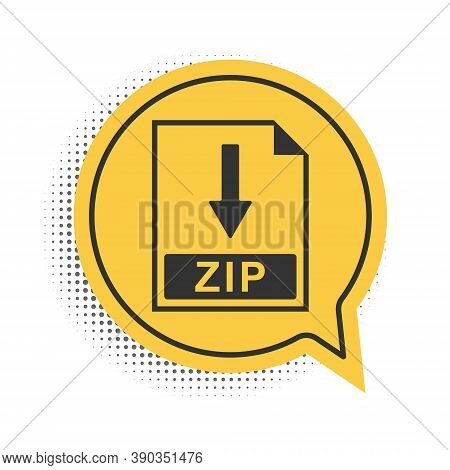 Black Zip File Document Icon. Download Zip Button Icon Isolated On White Background. Yellow Speech B