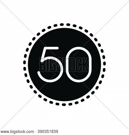 Black Solid Icon For Fifty Number Count Quinquagenarian
