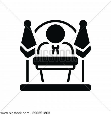 Black Solid Icon For Governor Chief President Administrator Controller Viceroy