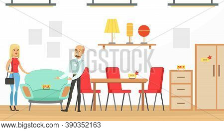 People Shopping In Furniture Store, Man Shop Assistant Helping Woman To Choose Armchair Vector Illus