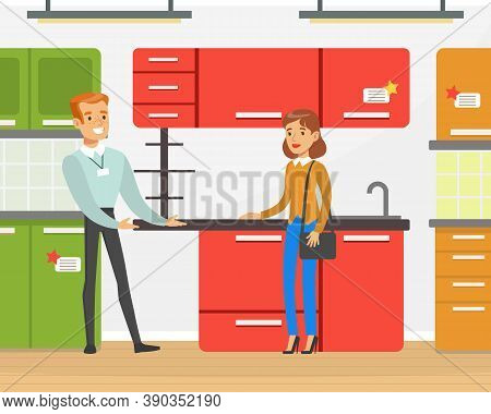 People Shopping In Furniture Store, Familyn Couple Choosing Home Kitchen Furniture Vector Illustrati