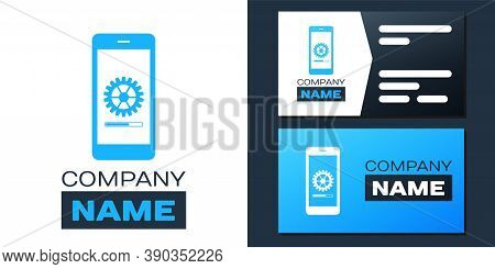 Logotype Smartphone Update Process With Gearbox Progress And Loading Bar Icon Isolated On White Back