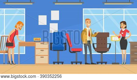 People Shopping In Furniture Store, Woman Shop Assistant Helping Man To Choose Office Furniture Vect