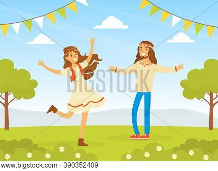 Hippie Characters, Young Man And Woman Dancing On Nature, Happy People Wearing Retro Clothes Of The