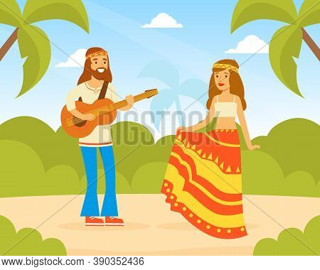 Hippie Characters, Young Man And Woman Playing Guitar And Dancing On Summer Landscape, Happy People