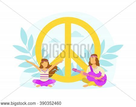 Hippie Characters Sitting In Meditation Pose At Peace Symbol, Happy People Wearing Retro Clothes Of