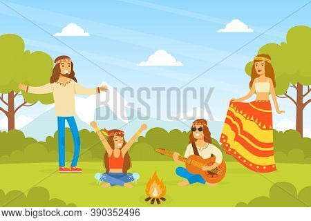 Hippie Characters, Group Of Young Men And Women Playing Guitar And Dancing On On Nature, Happy Peopl