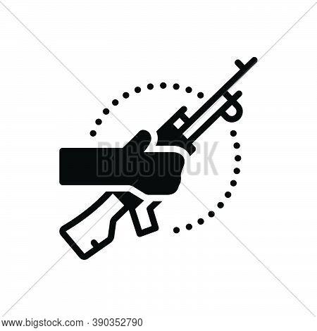 Black Solid Icon For Terrorist Bomber Guerrilla Radical Rebel Thug Incendiary Revolutionary Gun