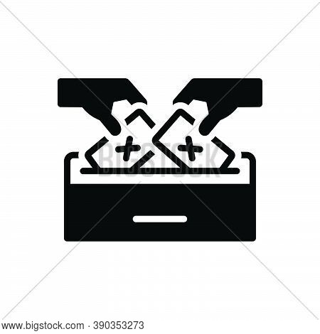 Black Solid Icon For Democracy Voting Polling Elect Vote-for Vote-in Ballot Select Pick Election Bal