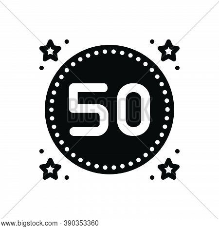 Black Solid Icon For Fifty Date Number Count Quinquagenarian