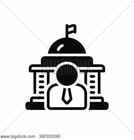 Black Solid Icon For Governor Government People Democracy Flag State Polity Embassy Building Capitol