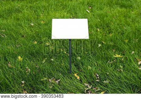 Empty Sign Board On Grass With Space For Caption. Property House For Sale Sign Board. Notice Board W