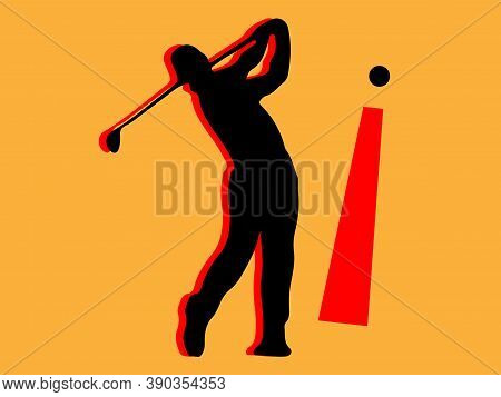 Golf Vector Isolated On Background , Tee, Tour, Tournament, Training