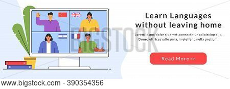 E-learning Of The Foreign Languages. Distance Online Education Web-banner. Teachers From Different C