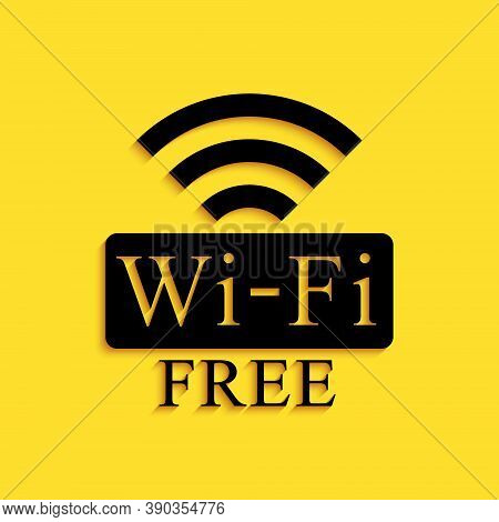 Black Free Wi-fi Icon Isolated On Yellow Background. Wi-fi Symbol. Wireless Network Icon. Wi-fi Zone