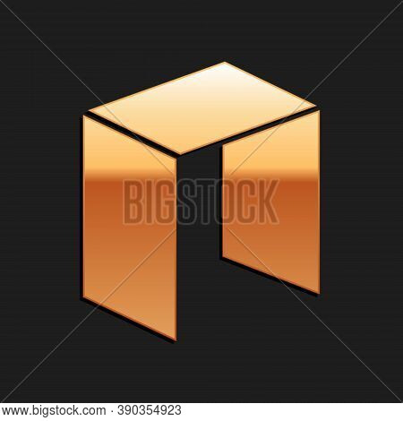 Gold Cryptocurrency Coin Neo Icon Isolated On Black Background. Physical Bit Coin. Digital Currency.