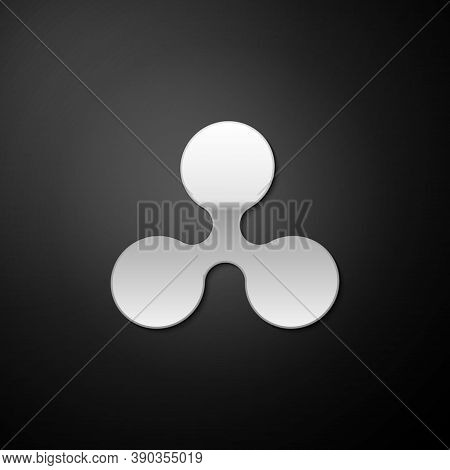 Silver Cryptocurrency Coin Ripple Xrp Icon Isolated On Black Background. Digital Currency. Altcoin S