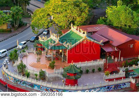 Aerial Vibrant And Colorful Tua Pek Kong Temple In Kuching, Sarawak, Malaysia