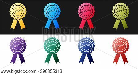Set Approved Or Certified Medal Badge With Ribbons Icon Isolated On Black And White Background. Appr