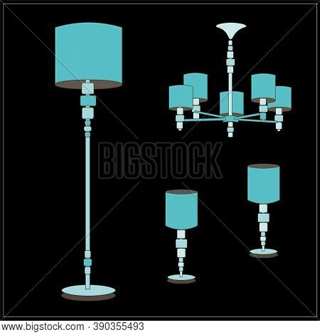 Classic Turquoise Lamps With Beautiful Shades. Classic. A Set Of Lamps From The Palace. Floor Lamp,