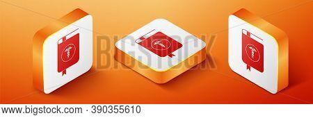Isometric Medical Book And Caduceus Medical Icon Isolated On Orange Background. Medical Reference Bo