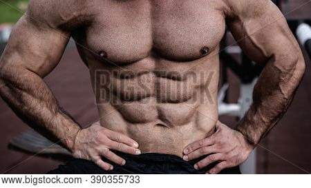 Perfect Male Body Physique With Abdominal Chest And Arms Muscles Outdoor Workout Leisure Activity