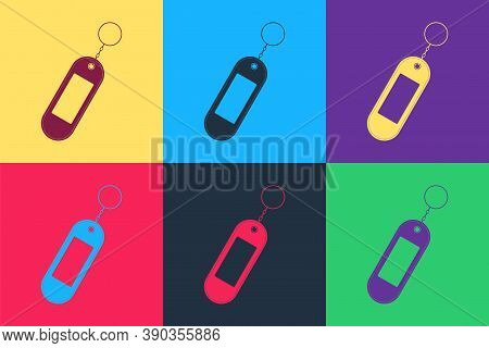 Pop Art Key Chain Icon Isolated On Color Background. Blank Rectangular Keychain With Ring And Chain