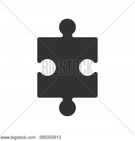 Puzzle Vector Shape Icon. Jigsaw Piece Symbol Sign. Silhouette Isolated On White Background.