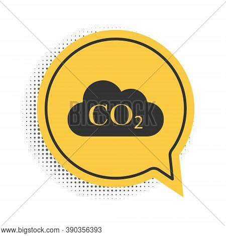 Black Co2 Emissions In Cloud Icon Isolated On White Background. Carbon Dioxide Formula Symbol, Smog
