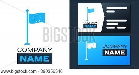 Logotype Flag Of European Union Icon Isolated On White Background. Eu Circle Symbol. Waving Eu Flag