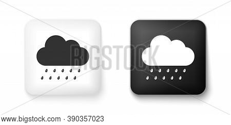 Black And White Cloud With Rain Icon Isolated On White Background. Rain Nimbus Cloud Precipitation W