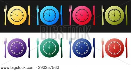 Set Plate With Clock, Fork And Knife Icon Isolated On Black And White Background. Lunch Time. Eating