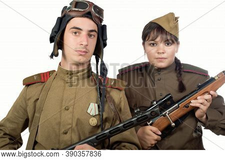 Young Adult Man And Woman In The Uniform  Of The Soviet Army Of The Period Of World War Ii