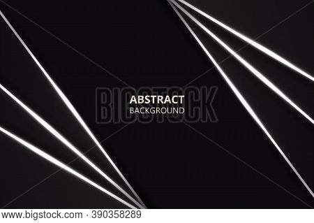 Abstract Polygonal Black Tech Background. Modern Design With Black And Silver Metal Shapes. Dark Met