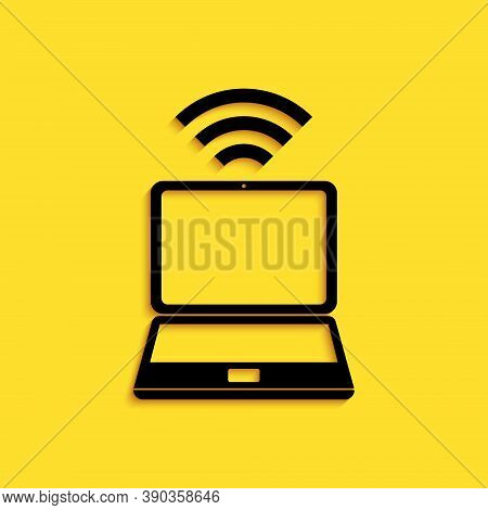 Black Laptop And Free Wi-fi Wireless Connection Icon Isolated On Yellow Background. Wireless Technol